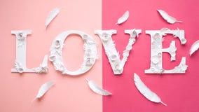 Amor de la inscripción de la foto hecho de hojas y de flores en fondo rosado Fotos de archivo libres de regalías