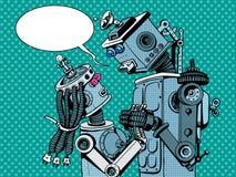 Amor de la mujer del hombre de los robots de los pares Imagenes de archivo