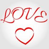 Amor de la palabra con el corazón Imagen de archivo libre de regalías