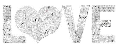 Amor de la palabra con el corazón para colorear Objeto decorativo del zentangle del vector Foto de archivo