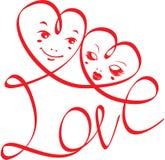 AMOR de la palabra con los corazones y las caras divertidas ilustración del vector