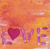Amor de la palabra con los pétalos Foto de archivo