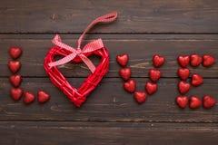 Amor de la palabra de los corazones Fotografía de archivo libre de regalías