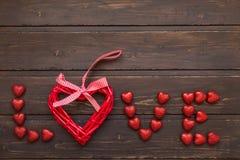 Amor de la palabra de los corazones Fotos de archivo