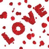 AMOR de la palabra del día de tarjetas del día de San Valentín hecho de rosas rojas Foto de archivo