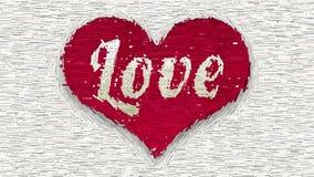 Amor de la palabra en collage rojo del extracto del corazón