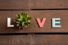 Amor de la palabra en el piso de madera Imagenes de archivo
