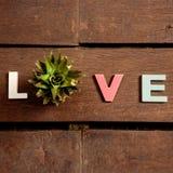 Amor de la palabra en el piso de madera Imágenes de archivo libres de regalías