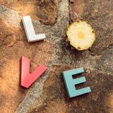 Amor de la palabra en el piso de piedra Foto de archivo