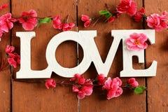 Amor de la palabra hecho de letras de madera Fotos de archivo
