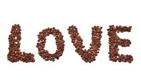 Amor de la palabra integrado por los granos de café Fotos de archivo libres de regalías