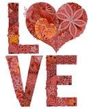 Amor de la palabra para colorear Objeto decorativo del zentangle del vector Fotos de archivo libres de regalías