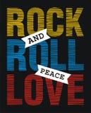 Amor de la paz del rock-and-roll ilustración del vector