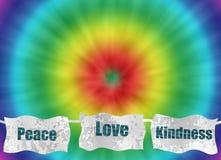 Amor de la paz y fondo retro del teñido anudado de la amabilidad stock de ilustración