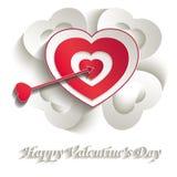 Amor de la tarjeta del día de San Valentín del papel 3D de la blanco del corazón Imagenes de archivo