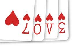 Amor de la tarjeta del póker Fotos de archivo libres de regalías