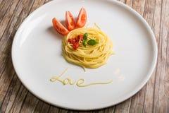 Amor de los espaguetis Imágenes de archivo libres de regalías
