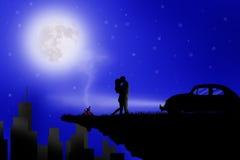 Amor de los pares en la luz de luna ilustración del vector