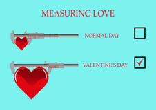 Amor de medição - dia do ` s do Valentim, coração Foto de Stock