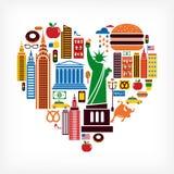Amor de New York - forma do coração com muitos ícones do vetor Imagem de Stock Royalty Free