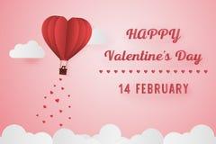 Amor de papel do estilo do dia de são valentim, balão que voa sobre wi da nuvem Foto de Stock