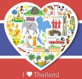 Amor de Tailândia Ajuste ícones e símbolos do vetor no formulário do coração ilustração royalty free