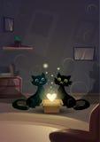 Amor de Valentine Day Gift Card Holiday Cat Couple Heart Shape Shining Imágenes de archivo libres de regalías