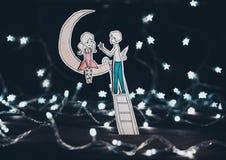 Amor debajo de las estrellas Fotografía de archivo libre de regalías