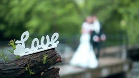 Amor decorativo de la inscripción con la novia y el novio metrajes