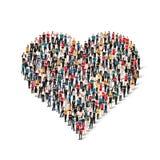 Amor del corazón de la forma de la gente del grupo ilustración del vector