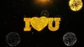 Amor del corazón usted deseo la tarjeta de felicitaciones, invitación, fuego artificial de la celebración colocado libre illustration