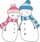 Amor del día de fiesta de la Navidad de los pares de los muñecos de nieve Imagenes de archivo