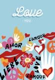 Amor del día de tarjetas del día de San Valentín usted manda un SMS a cita con la decoración stock de ilustración