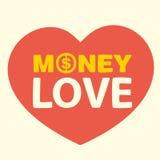 Amor del dinero del texto Fotografía de archivo