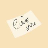 Amor del ejemplo del vector usted empapela la nota Fotografía de archivo