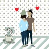 Amor del individuo y de la muchacha de la historieta del vector ilustración del vector