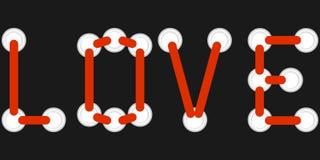 Amor del lema con una cinta roja en la porta en un fondo negro Amor de la bandera de cordones hecho a ganchillos con los partes m libre illustration