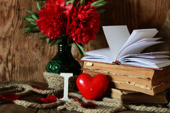 Amor del libro viejo y de la palabra Imagen de archivo
