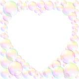 Amor del marco del corazón de las burbujas de jabón Imagen de archivo