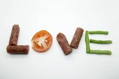 Amor del mensaje de la comida Foto de archivo