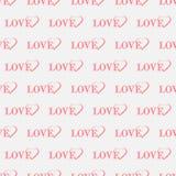 Amor del texto con el modelo inconsútil de los corazones, impresión feliz del día de la tarjeta del día de San Valentín s ilustración del vector