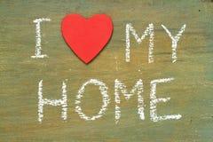 Amor del texto i mi hogar Imagen de archivo libre de regalías