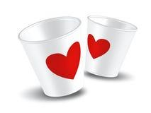 Amor do copo de papel Fotografia de Stock