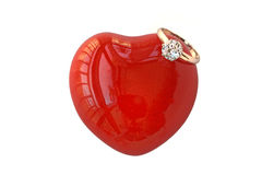 Amor do coração e anel de diamante fotos de stock royalty free