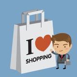 Amor do homem de negócios que compra sexta-feira à noite Fotos de Stock Royalty Free