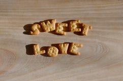 Amor doce Montão de letras comestíveis Fotografia de Stock Royalty Free