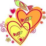 Amor: dos corazón y pájaros Fotos de archivo libres de regalías