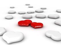 Amor (dos corazones rojos) Fotografía de archivo