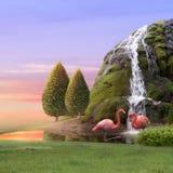Amor dos flamingos Fotografia de Stock Royalty Free