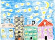 Amor dos gatos do março da pintura das crianças ilustração stock